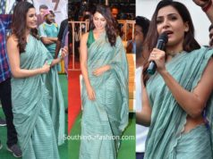 samantha akkineni in blue saree at jaanu pre release vizag