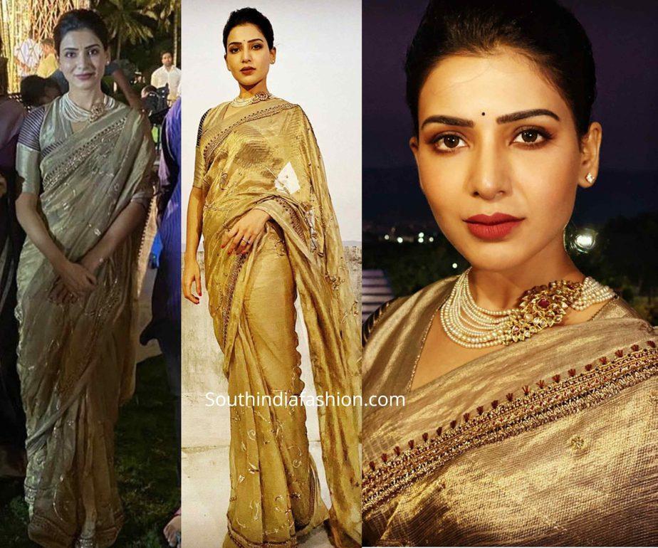 samantha akkineni in gold tissue saree at aditya akkineni wedding