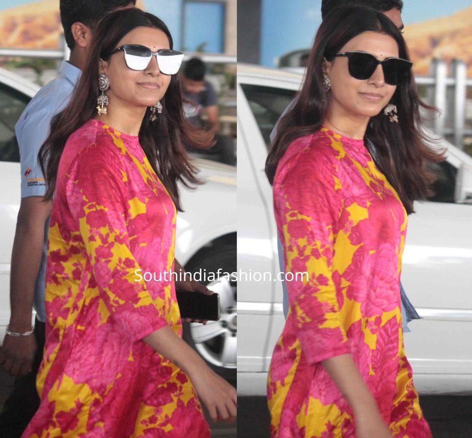 samantha akkineni in pink and yellow floral kurta set airport (2)