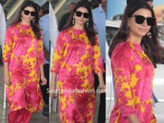 samantha akkineni in pink and yellow floral kurta set airport (1)