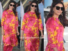samantha akkineni in pink and yellow floral kurta set airport (1)
