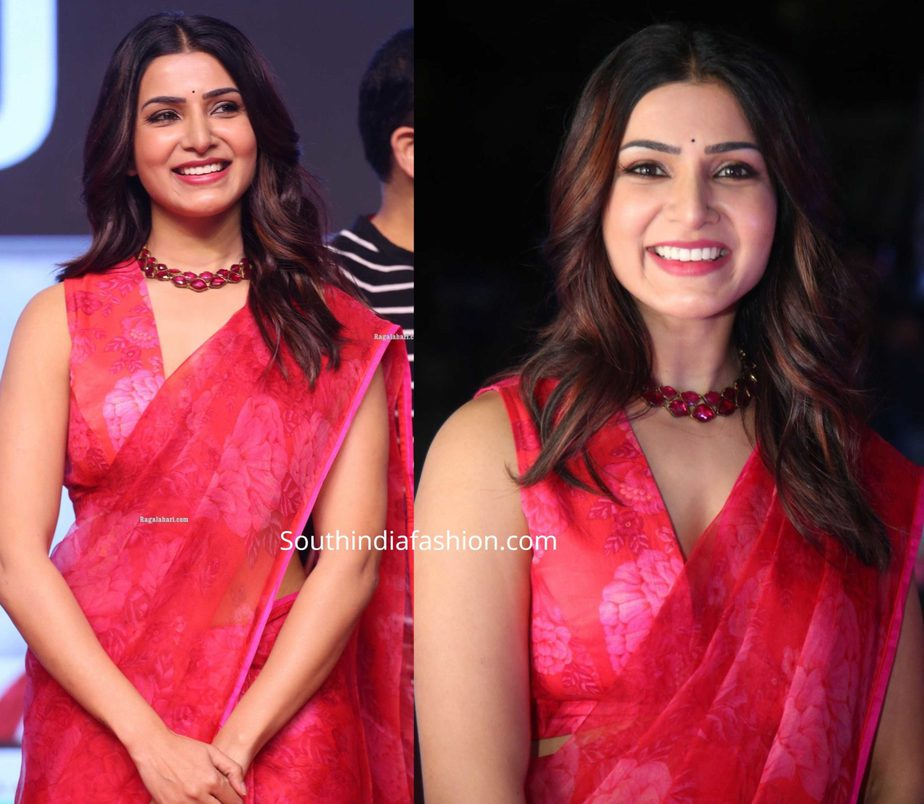 samantha akkineni in red floral saree at jaanu pre release event (3)