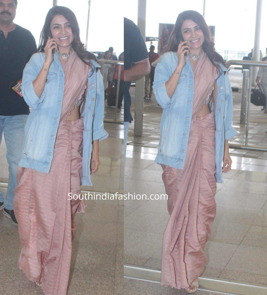 samantha akkineni in saree with denim jacket at airport (1)