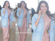 samantha akkineni in saree with denim jacket at airport