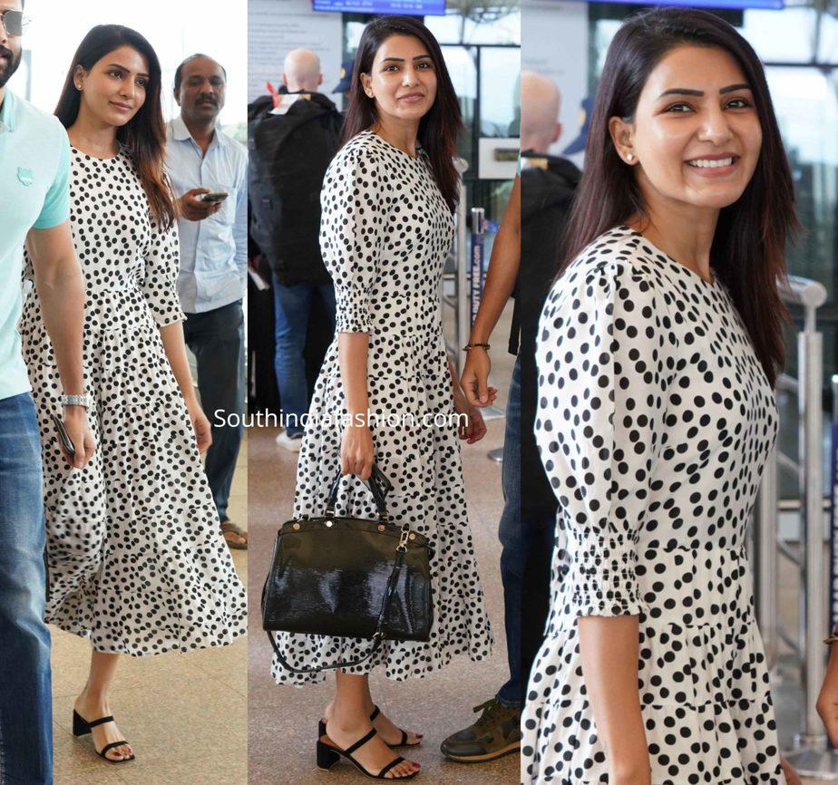 samantha akkineni in white polka dot dress at airport