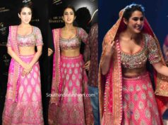 sara ali khan in abu jani sandeep khosla lehenga at blenders pride fashion tour