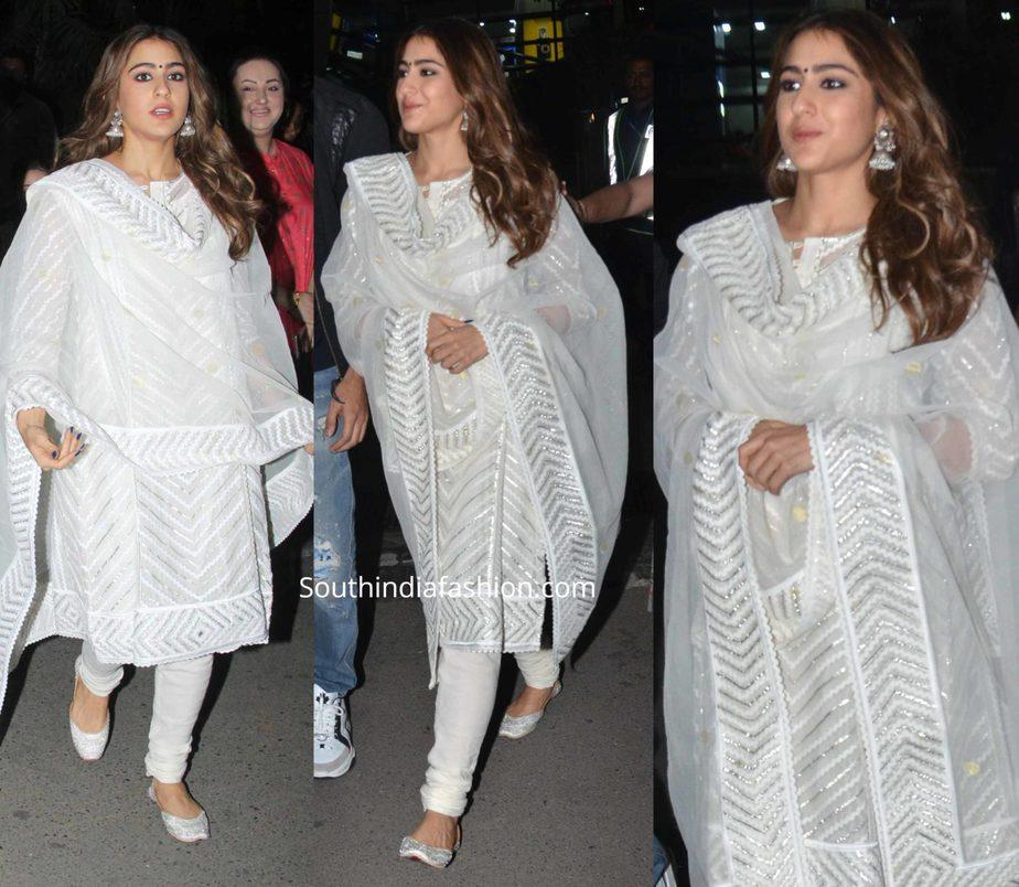 sara ali khan in white churidar for love aaj kal promotions