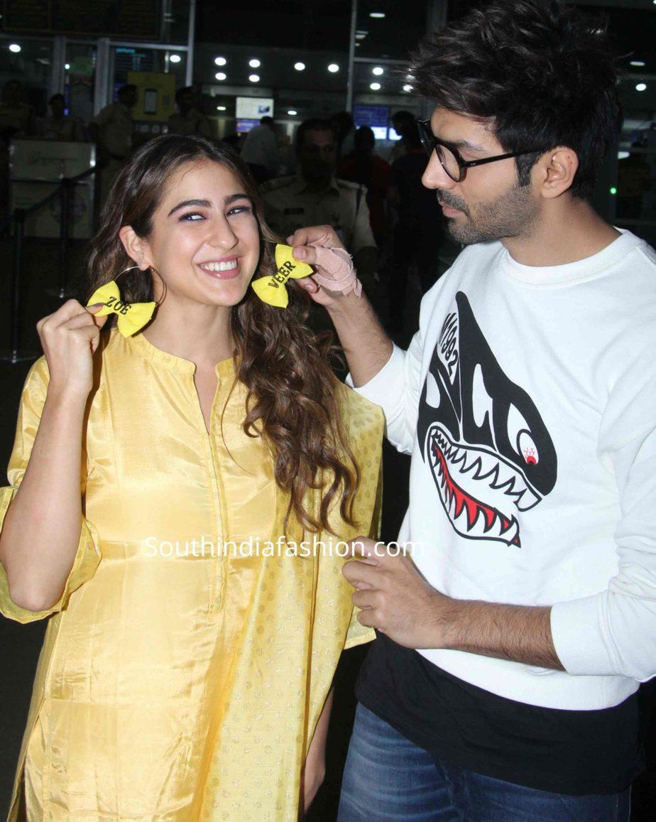 sara ali khan yellow salwar kameez love aaj kal promotions