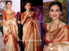 shilpa reddy in cream and maroon silk saree at gudi sambaralu
