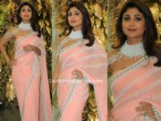 shilpa shetty in pearl work saree at armaan jain wedding reception