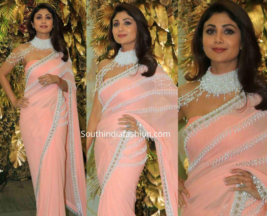 shilpa shetty in pearl work saree at armaan jain wedding reception