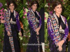 sonali bendre in black and purple outfit at armaan jain wedding reception