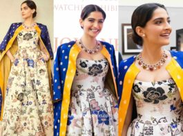 sonam kapoor gown with jacket at Doha Jewellery and Watches Exhibition 2020
