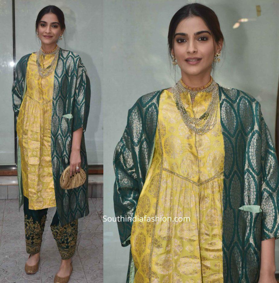 sonam kapoor in raw mango green yellow salwar kameez (2)