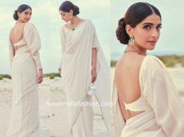 sonam kapoor in white manish malhotra saree