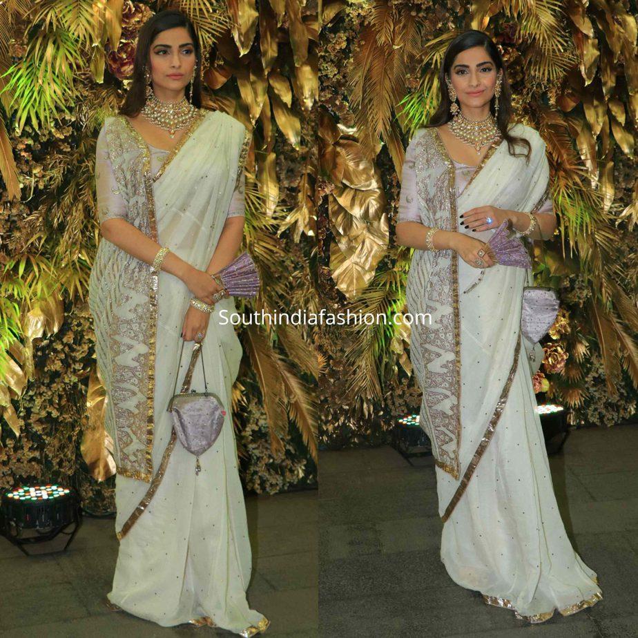 sonam kapoor in white saree at armaan jain wedding reception (1)