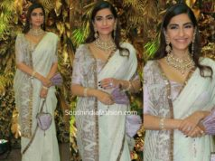 sonam kapoor in white saree at armaan jain wedding reception (2)