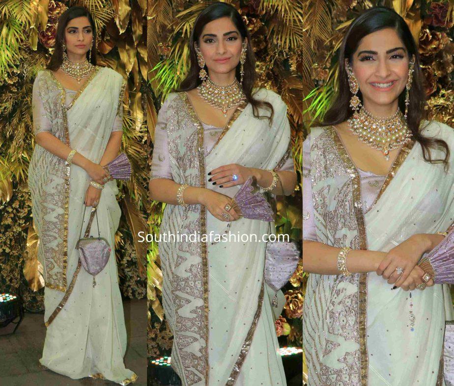 sonam kapoor in white saree at armaan jain wedding reception (2)