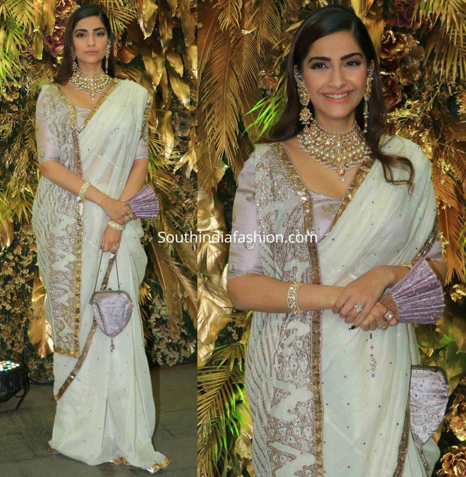 sonam kapoor in white saree at armaan jain wedding reception