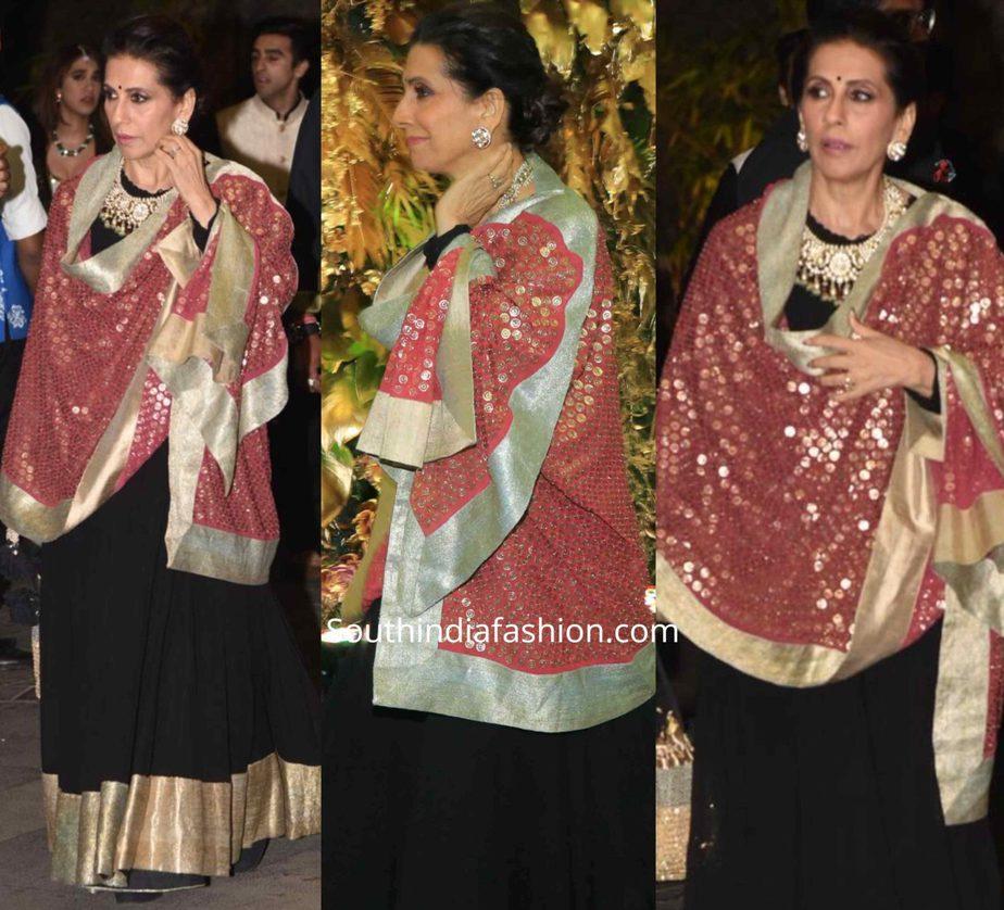 sunita kapoor black anarkali at armaan jain wedding reception (2)