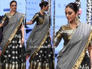 tabu in gaurang shah black lehenga at lakme fashion week 2020