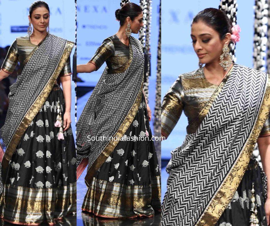 tabu in gaurang shah black lehenga at lakme fashion week 2020