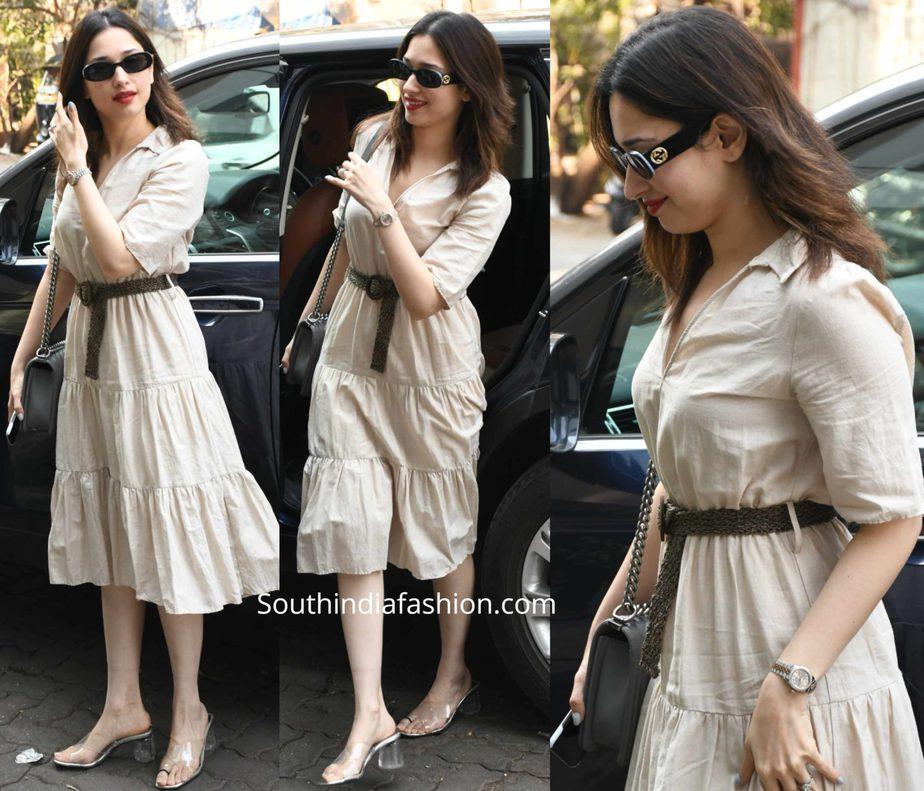 tamannaah bhatia casual look white dress