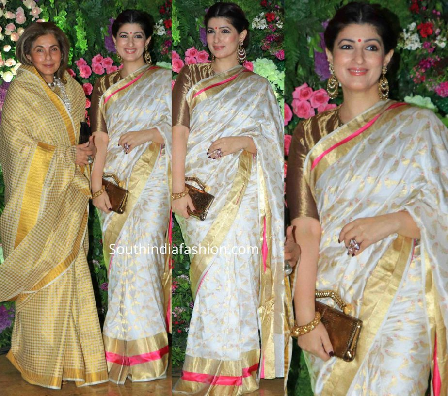 twinkle khanna and dimple kapadia at at armaan jain wedding reception