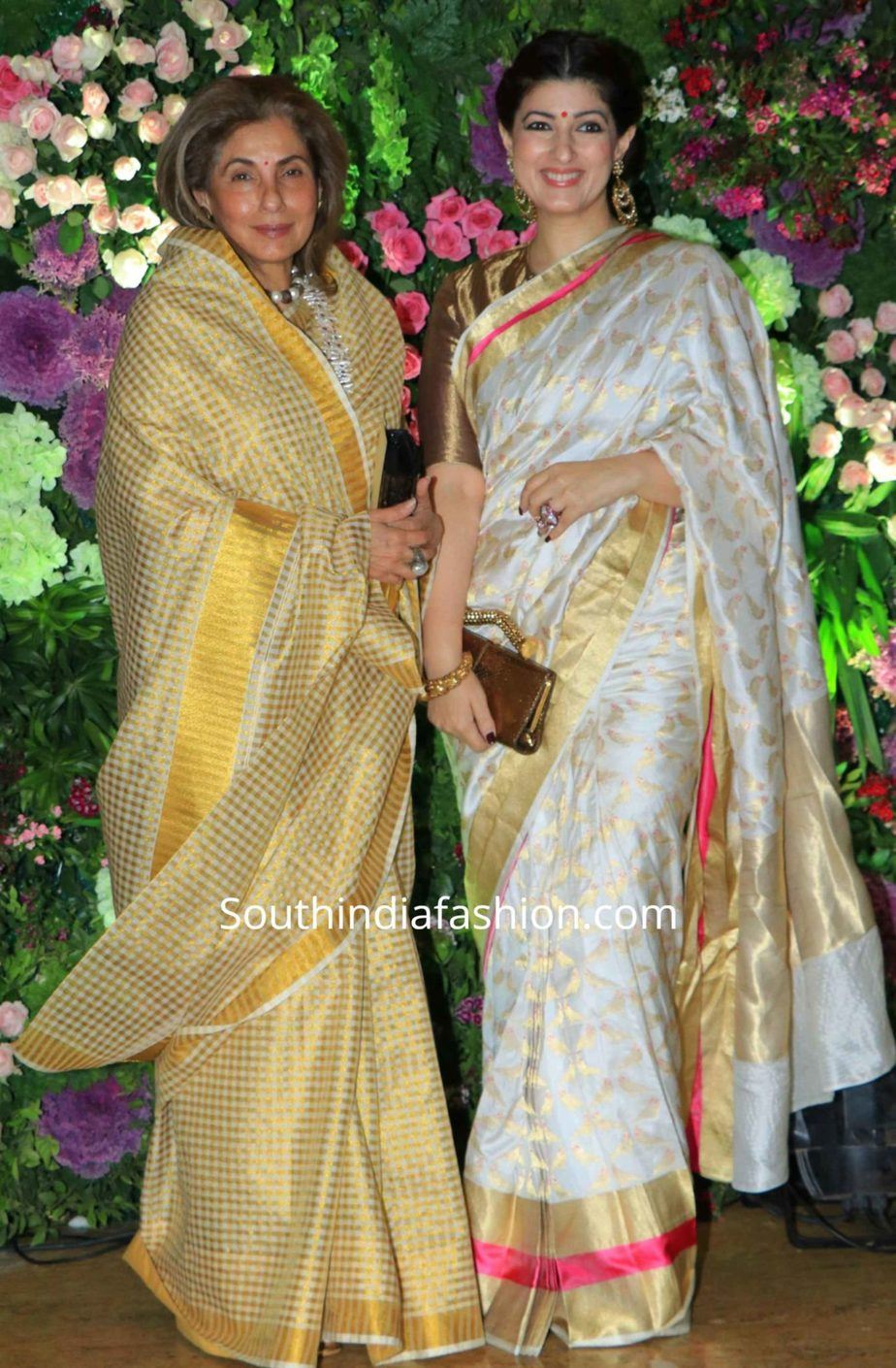 twinkle khanna and dimple kapadia in sarees at armaan jain wedding reception