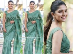 vani bhojan in green saree