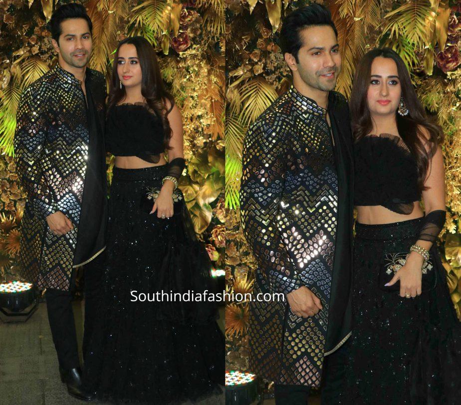 varun dhawan and natasha dalal in black outfitsat armaan jain wedding reception (1)