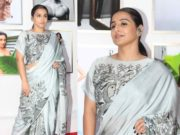 vidya balan in grey saree at dabooo ratnani calender launch