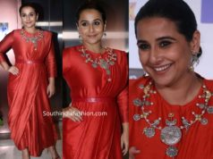 vidya balan in red saree dress at filmfare arwads press meet (3)