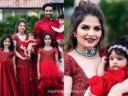 viranica manchu family in matching red outfits at a sangeet (1)