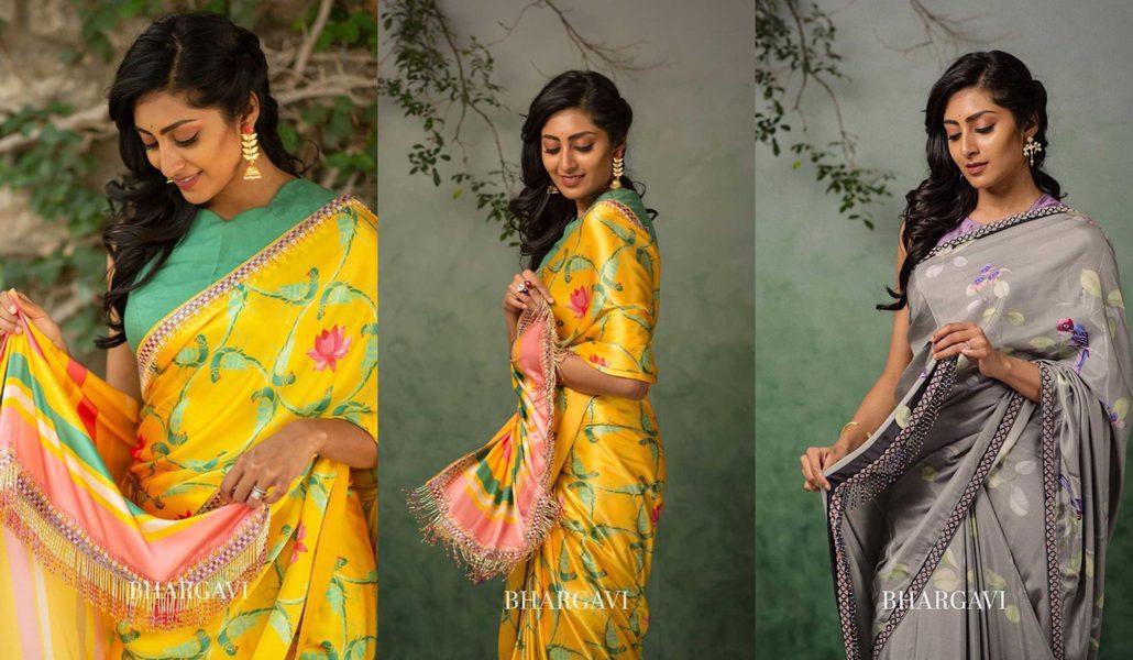 Bhargavi Kunam summer collection hand painted silk sarees