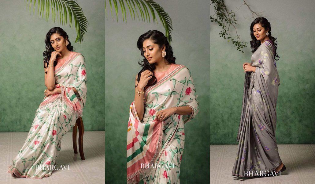 Bhargavi Kunam summer collection printed silk sarees