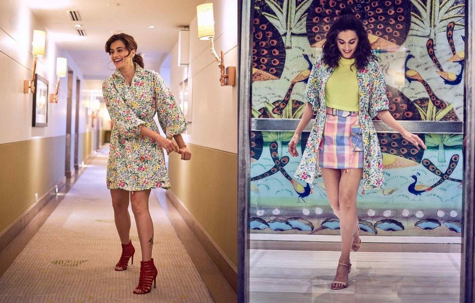 Taapsee pannu in a shirt dress for Thappad promotions