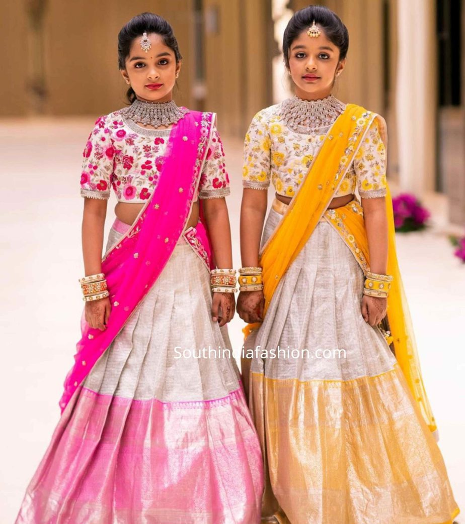 aariana and viviana manchu in half sarees