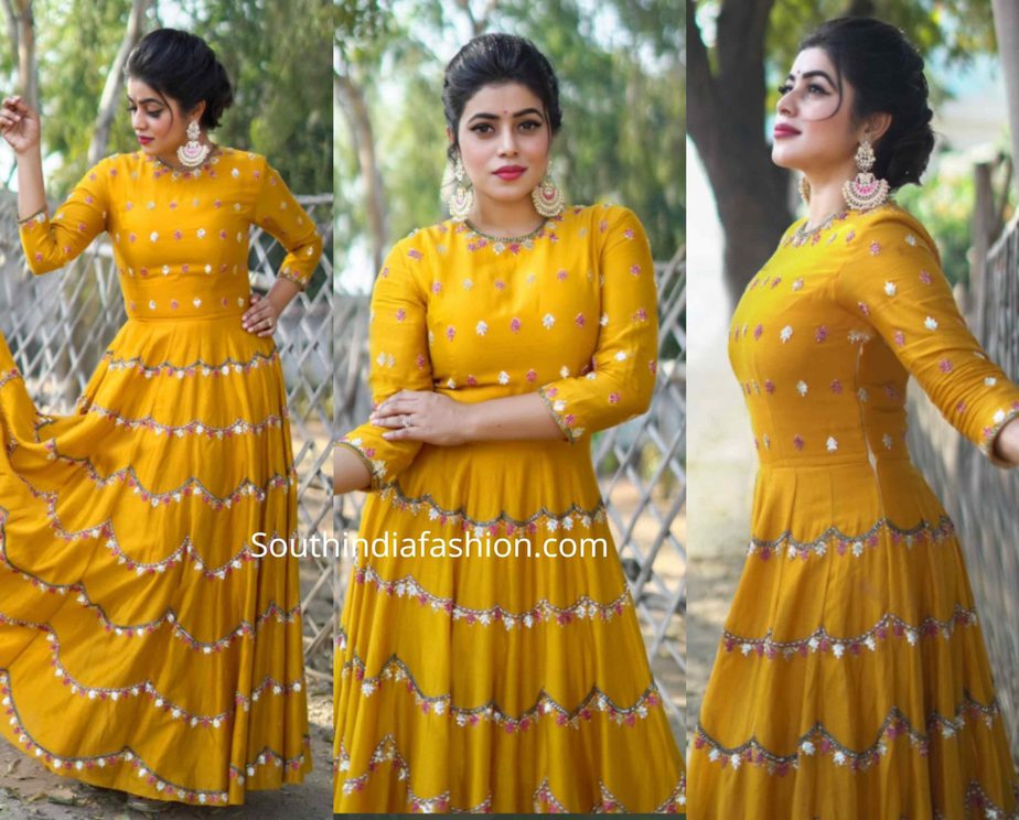 actress poorna mustard yellow gown