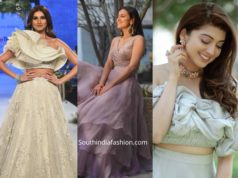actresses in pastel color lehengas