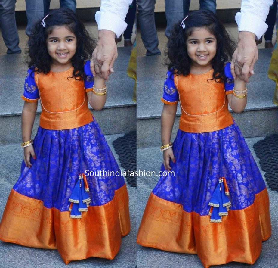 allu arha blue orange pattu lehenga