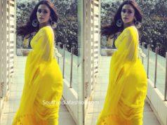 amruta khanvilkar in yellow suta saree