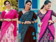 anasuya in half sarees