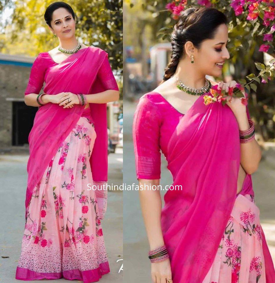 anasuya in pink floral half saree