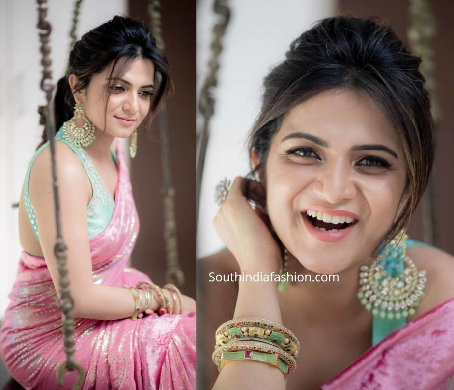 anchor dd divyadarshini in pink sequin saree (2)