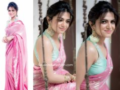 anchor dd divyadarshini in pink sequin saree