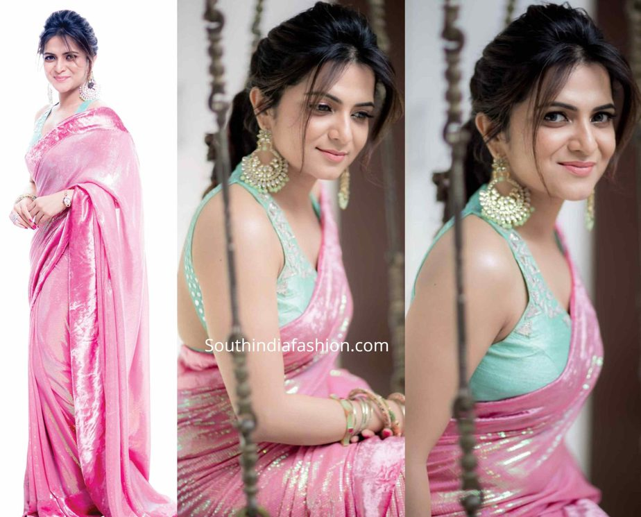 anchor dd divyadarshini in pink sequin saree