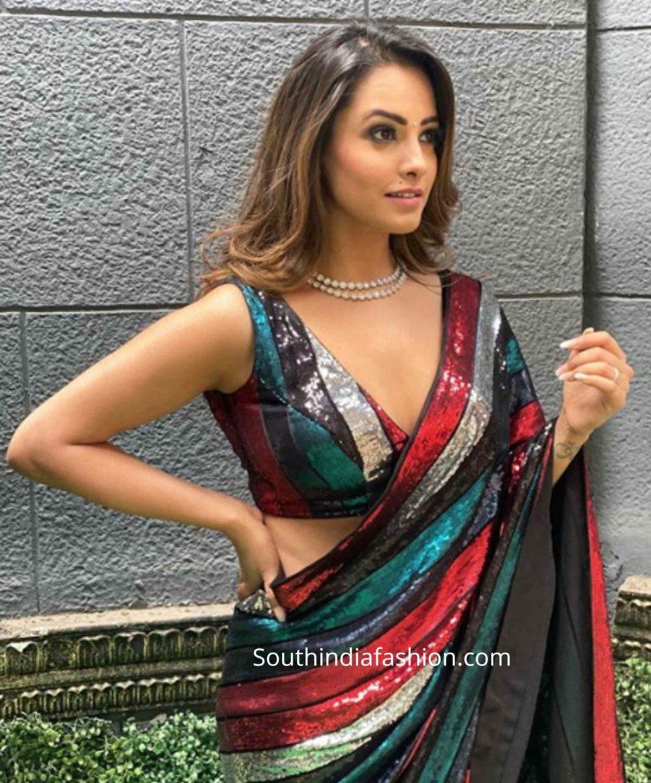 anita hassanandani deep v neck blouse