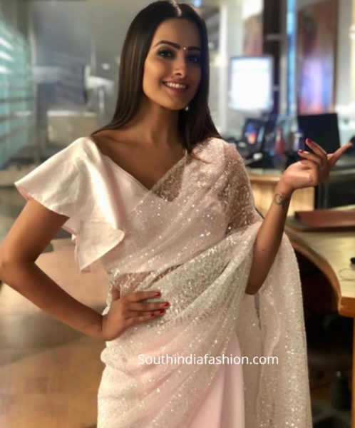 anita hassanandani ruffle sleeves blouse
