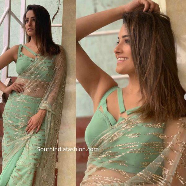 anita hassanandani saree blouses 2020 (1)